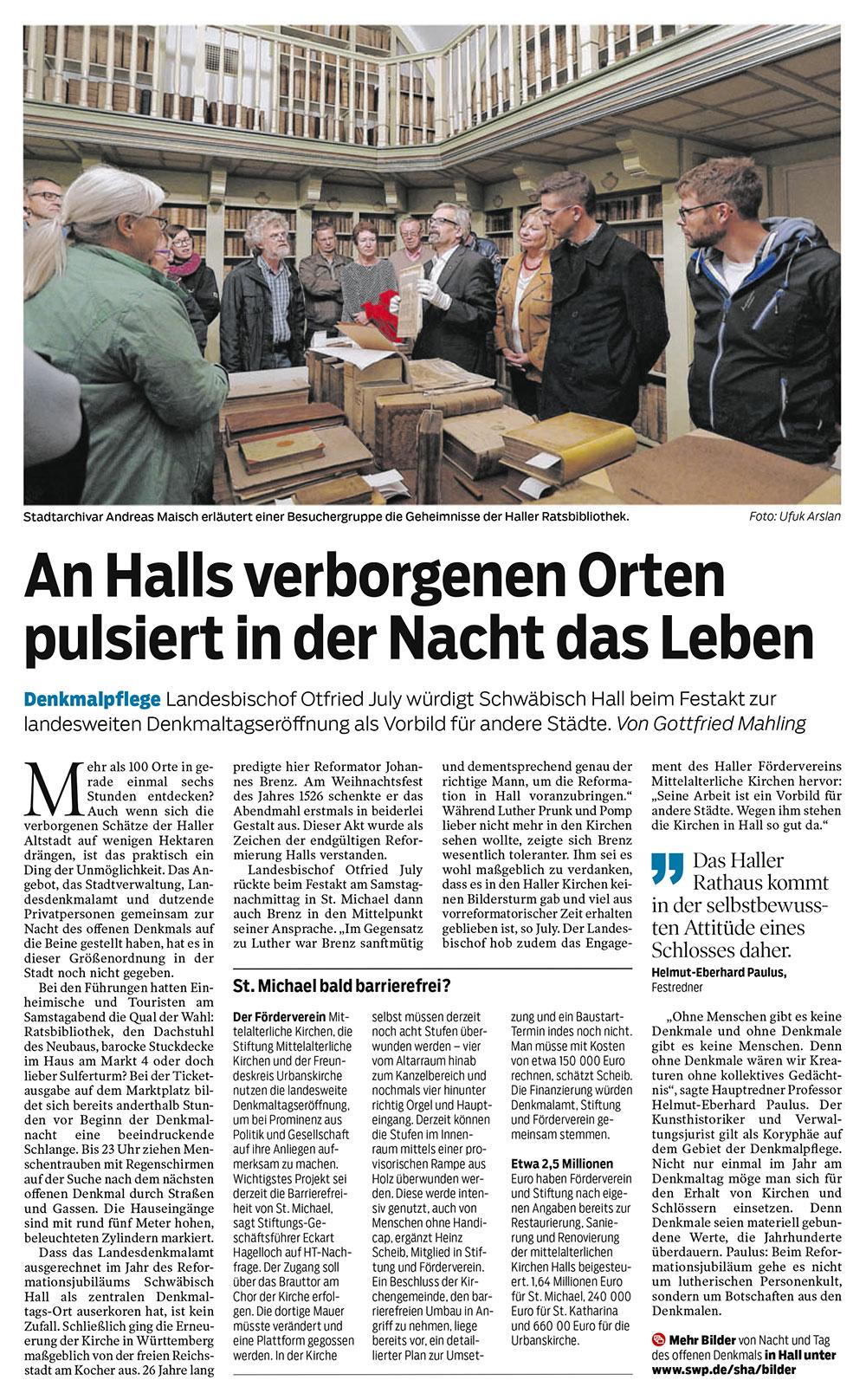 Bericht aus der Haller Zeitung (HT) vom 11.09.2017